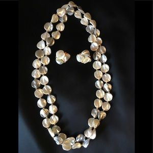 Genuine mother of pearl necklace and earrings